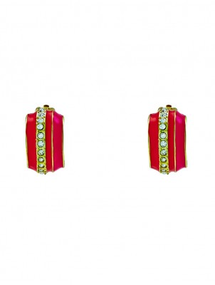 Candy Stripe Enamel Clip Earrings
